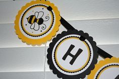 "Sweet Bee ""Happy Bee Day"" Birthday Banner - girl or boy - any color. $18.00, via Etsy."