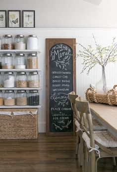 DIY Menu Chalkboard New Kitchen, Kitchen Dining, Kitchen Decor, Dining Room, Kitchen Shelves, Kitchen Ideas, Updated Kitchen, Kitchen Pantry, Kitchen Art