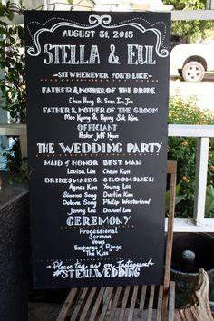 Custom Chalkboard Program Sign for Weddings