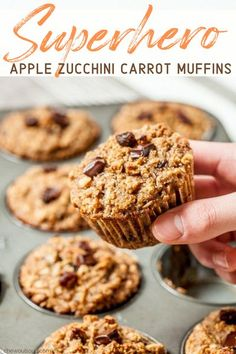 These are called Superhero Muffins for good reason. They're loaded with fresh apples, zucchini, and carrots, plus your favorite add-ins. These are gluten-free, dairy-free, and sweetened only with honey. These muffins are everything your body needs and your taste buds want. #glutenfree #dairyfree #apple #zucchini #carrot #muffins #superheromuffins #glutenfreemuffins Best Gluten Free Recipes, Vegan Recipes Easy, Snack Recipes, Kitchen Recipes, Brunch Recipes, Delicious Recipes, Baking Recipes, Keto Recipes, Snacks
