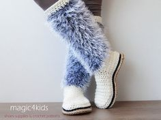 Crochet boots, crochet slippers : Women crochet boots with jute rope soles rope soles by magic4kids
