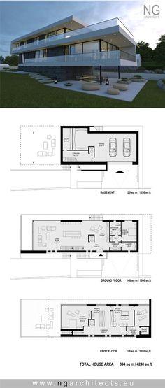 modern house plan Villa G by NG Architects - NG architects Modern House Plans, House Floor Plans, Modern Villa Design, Villa Plan, House Blueprints, Sims House, Modern Exterior, Architecture Plan, Building A House