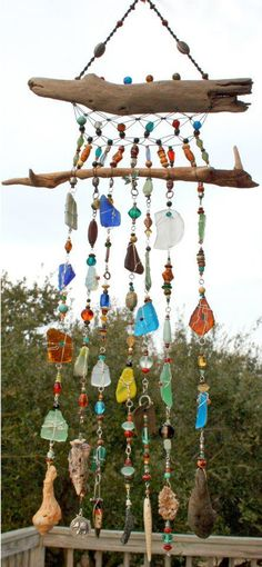 Outer Banks Custom Wall Art - Handmade Sea Glass, Shells, Glass Beads, Driftwood and Macrame Suncatcher.