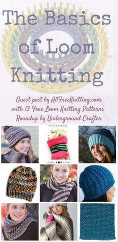 The Basics of Loom Knitting by AllFreeKnitting for Underground Crafter | Find out what you need to know to get started with loom knitting, and explore 13 free loom knitting patterns! Loom Knitting For Beginners, Round Loom Knitting, Loom Knitting Stitches, Knifty Knitter, Loom Knitting Projects, Knitting Patterns Free, Start Knitting, Free Knitting, Knitting Ideas