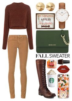 """""""Fall Crops"""" by meaganmuffins ❤ liked on Polyvore featuring Casetify, AG Adriano Goldschmied, TIBI, Frye, MICHAEL Michael Kors, WALL, Lime Crime, Daniel Wellington, Eddie Borgo and OPI"""