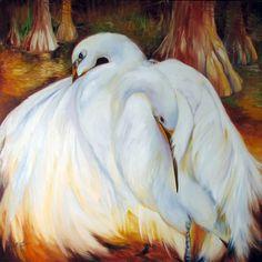 THE NESTING EGRETS ~ Louisiana Wildlife