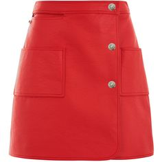 Courreges Red Coated Cotton Mini Skirt (285 AUD) ❤ liked on Polyvore featuring skirts, mini skirts, bottoms, short skirts, red skirt, red miniskirt, wrap front skirt and short mini skirts