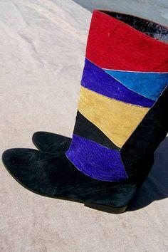 painterly patchwork ♥ colorblock suede boots 9 - deadlyvintage.com #vintage #newwave #80s