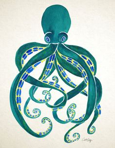 Octopus Watercolor Art Print by Cat Coquillette