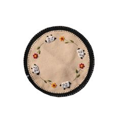 """Sheep Flower Mat - Hand stitched mat with sheep details all in wool material. size is 14"""" round. This is sure to please all the sheep lovers."""