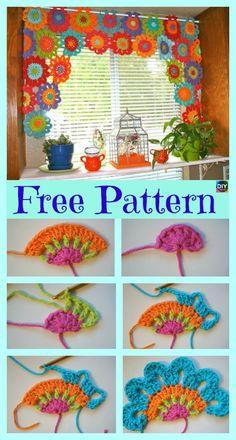 Crochet Pattern For Beginners Beautiful Crochet Flower Power Valance – Free Pattern Crochet Puff Flower, Crochet Leaves, Crochet Motifs, Crochet Flower Patterns, Crochet Flowers, Knitting Patterns, Pattern Flower, Diy Flower, Knitting Ideas