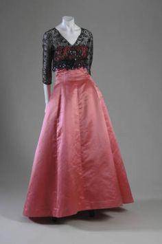 Evening ensemble, ca. 1955. Silk faille and net, glass beads, sequins. Balenciaga