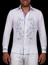 Chemise homme en lin blanc doublure ciel broderie Paisley
