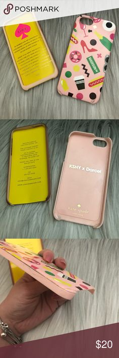 Kate Spade x Darcel iPhone 5 5s Hybrid Case - Used 💖 Kate Spade x Darcel iPhone 5 5s case 💖 This was the only case I had on my 5s for the whole 5 years I had the phone. 💖 Case shows wear on the sides & small cracks at the bottom that I fixed with dabs of super glue. Please see ALL photos as I depicted all wear 💖 You could easily repaint the chipped areas and maybe even put tiny stones on the sides! 💖 Comes w/box. Hybrid case, has a silicone shell and the hard case.  ‼️Price is…