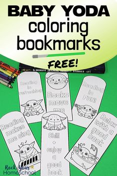 Your Mandalorian & Star Wars fans will love these 6 free Baby Yoda coloring bookmarks. These printable activities are easy ways to boost reading fun at home & perfect for a special Star Wars Day celebration. Free Printable Bookmarks, Printable Star, Bookmarks Kids, Star Wars Party, Star Wars Birthday, Star Wars Classroom, Star Wars Colors, Star Wars Crafts, Library Activities