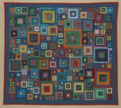 """jbe200quilts: """" """"Shantytown"""" - Kaffe Fassett quilt Kel Fletcher I added a whole lot more blocks to the original design (from Kaffe Fassett's book, Glorious Patchwork) to make a 54""""x54"""" wall hanging titled """"Shantytown"""" - the blocks remind me of the..."""