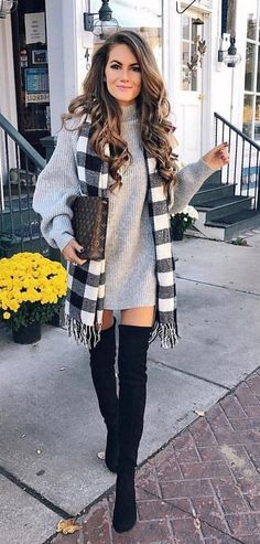 #fall #outfits women's gray sweater with plaid scarf. Click To Shop This Look.