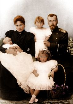 The Romanovs. Nicholas II, Emperor of Russia, his spouse Alexandra Feodorovna and their daughters Grand Duchesses Olga, Tatiana, Maria; 1899.