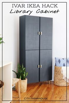 A DIY Ikea hack project to create a library cabinet that you can customize to your personal style! Ikea Storage Furniture, Diy Furniture Projects, Furniture Makeover, Diy Projects, Furniture Stores, Furniture Online, Luxury Furniture, Furniture Nyc, Furniture Dolly