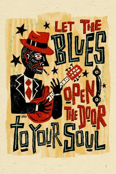 Blues Music - folk art poster 12x18 by Grego from mojohand.com on Etsy, $10.00
