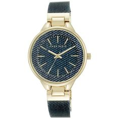 Anne Klein Bracelet Watch, 36mm (230 BRL) ❤ liked on Polyvore featuring jewelry, watches, bangle watch bracelet, dial watches, denim jewelry, adjustable bangle bracelet and bangle watches