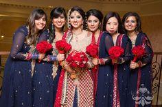 Bridesmaids match instead of being contrasting, looks great! Desi Wedding, Punjabi Wedding, Pakistani Bridal, Wedding Stuff, Bride Photography, Indian Wedding Photography, Patiala, Churidar, Bridal Dresses
