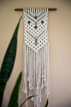 Macrame colgante cuerda de algodón Natural blanco por BermudaDream