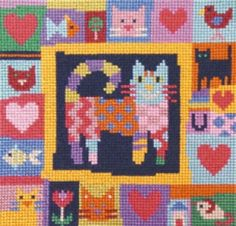 "Carnival Cat Cross Stitch Kit  from the Jolly Red Collection. size: 6"" x 6""  Kit contains 14ct aida fabric, threads, clear and easy to follow symbols chart, thread organiser and needle."