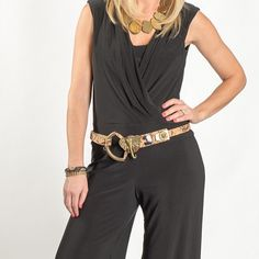 A jumpsuit is a chic dress alternative for the weekend. Style this version from EJ's Boutique with an elephant leather and stone belt from J. Hathaway Shoe Boutique and gold plated stone necklace from Alysa Rene Boutique. #kcstyle #parkplaceleawood #parkplacestyle