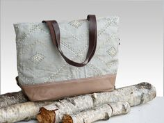 Large Diaper Bag Linen  Embroidered tote bags  by dawnaparis, €55.00
