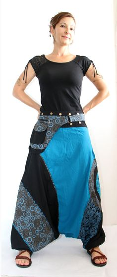 Aladdin pants known as Harem or Afghani trousers are very comfy  ☆  100% cotton, elasticated waist with drawstring, elasticated ankles,