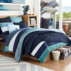 Kelly Slater Organic Tide Stripe Duvet Cover + Sham #pbteen