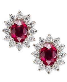 Rosa by EFFY Ruby (3-3/4 ct. t.w.) and Diamond (1-5/8 ct. t.w.) Oval Stud Earrings in 14k Gold   macys.com