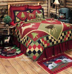 LODGE CABIN DEER ELK FISH BEAR 7pc QUILT BED SET KING