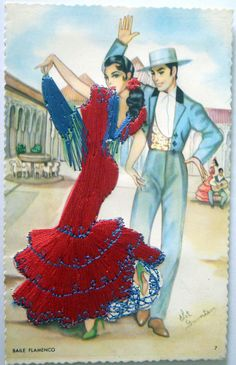VINTAGE POSTCARD SPAIN BAILE FLAMENCO EMBROIDERED DRESS N° 61