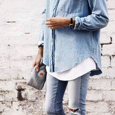 The white shirt under the demin shirt speaks volumes.  Wear with boots or white sneakers.