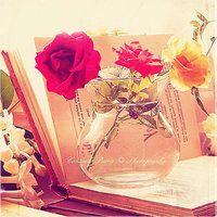 Rosas con libro abierto. Libros y flores para decorar #decoración