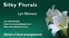 Silky Florals  Rental of floral arrangements. We rent out Imported Silk Flower arrangements to Offices, Doctor's Rooms, Beauty Salons, B & B's Confernence Centres etc.  Contact Info: Lyn Manson  www.silkyflorals.co.za Tel: 082 822 6850  Location:  Cape Town