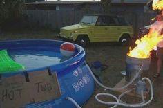 Redneck pool heater. Plumb pipes thru burn can to heat pool water.