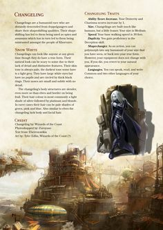 Changeling PC Race from Eberron – DnD Homebrew Dungeons And Dragons Races, Dnd Dragons, Dungeons And Dragons Characters, Dungeons And Dragons Homebrew, Dnd Characters, Fantasy Characters, Dnd 5e Races, D D Races, Dnd Classes