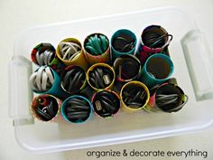 How to use paper rolls & duct tape to organize extra cords.
