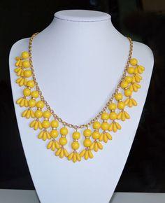 Handmade Yellow and Gold Dropplett Statement Bib by SheaBay