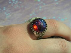 Fire Opal Ring in Sterling Silver ox Crowned Setting adjustable Free Shipping in US on Etsy, $34.00