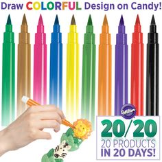 Draw edible messages and designs on candy treats with new Candy Decorating Pens! Specially formulated to work with Candy Melts® Candy.
