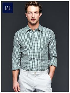 Wrinkle-resistant chambers gingham shirt