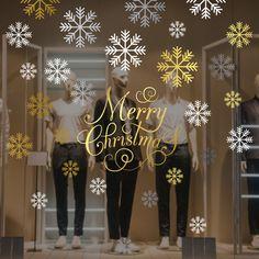christmas window sticker shop window display vinyl decal retail window quote sticker merry christmas decal snowflakes sticker set - Christmas Window Stickers