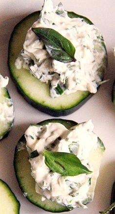 Herbed Cream Cheese Cucumbers #lowcarb