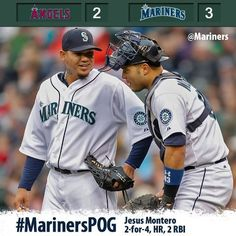 Felix fires 7 strikeouts over 8 innings, Montero homers in 3-2 win over Angels.