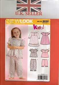 From Uk Sewing pattern Girl's  Pyjamas Nightdress Sleepwear 6M-4yrs  #6638