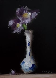 Neil Carroll Original Oil Painting Realism Impressionism Still Life Irises